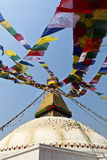 Bodhnath Stupa with prayer flags in Kathmandu - Ne Stock Photography