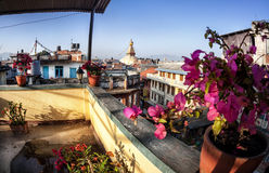 Bodhnath stupa from the roof Stock Photo