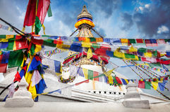 Bodhnath stupa z modlitewnymi flaga Obraz Royalty Free