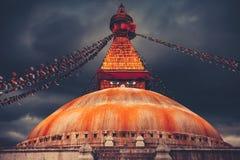 Bodhnathstupa in de vallei van Katmandu, Nepal Stock Fotografie