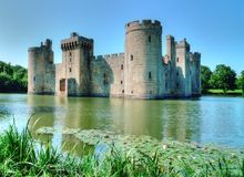 Bodiam Castle. Is a ruined castle with moat in East Sussex, England Stock Photos
