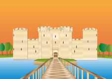 Bodiam castle at sundown Royalty Free Stock Image