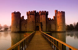 Bodiam Castle at sunrise Royalty Free Stock Images