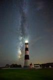 Bodie在银河星系下的海岛灯塔 库存照片
