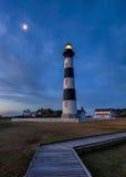 Bodie海岛灯塔,月出外面Bnks北卡罗来纳 免版税图库摄影