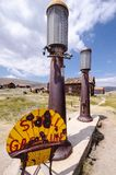 Bodie, California- Old Shell gas station pumps at the Bodie State Historical Park ghost town, an area in a state of. Old Shell gas station pumps at the Bodie stock photography