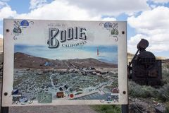 Sign welcoming visitors to Bodie State Historic park, an old gold rush mining town in the Eastern. Bodie, California- Sign welcoming visitors to Bodie State royalty free stock photography