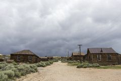 Bodie California Summer Storm. Summer storm clouds above Bodie ghost town near Mammoth Lakes California Royalty Free Stock Photography