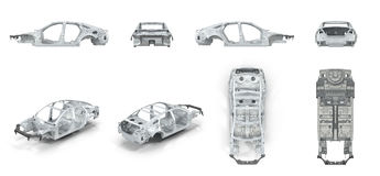 The bodie of car prepared for production. on white. renders set from different angles on a white. 3D illustration Stock Photography