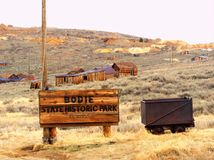 Bodie ghost town entrance, California. Bodie is a ghost town in the Bodie Hills east of the Sierra Nevada mountain range in Mono County, California, United royalty free stock images