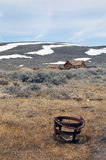 Bodie ghost town houses with snow mountain Stock Images