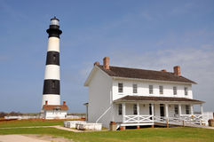 Bodie Island Lighthouse. And keeper's quarters in Cape Hatteras National Seashore, south of Nags Head, North Carolina, USA stock photo