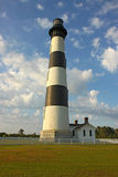 Bodie Island lighthouse, blue sky and white clouds Stock Photos