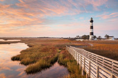 Bodie Island Lighthouse Boardwalk Autumn Arkivfoton