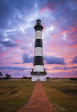 Bodie Island Lighthouse Cape Hatteras National Seashore Outer Banks NC. Blue and pink sunrise in Nags Head North Carolina stock image