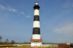 Bodie Island Lighthouse, NC, USA. Bodie Island Lighthouse and keeper`s quarters in Cape Hatteras National Seashore, south of Nags Head, North Carolina, USA Royalty Free Stock Photography