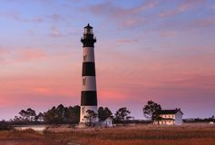 Bodie Island Lighthouse Hatteras North Carolina. Landscape of the Bodie Island Lighthouse and Keepers Quarters on the Outer Banks of Cape Hatteras National Stock Image