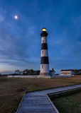 Bodie Island Lighthouse, moonrise Outer Bnks North Carolina Royalty Free Stock Photography