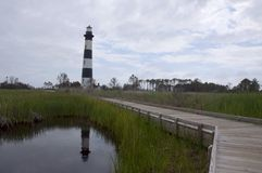 Bodie Island Lighthouse, NC, USA. Bodie Island Lighthouse and keeper`s quarters in Cape Hatteras National Seashore, south of Nags Head, North Carolina, USA Stock Photography