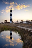 Bodie Island Lighthouse Outer Banks National Park. Bodie Island Lighthouse Cape Hatteras National Seashore Outer Banks NC Reflection OBX North Carolina Royalty Free Stock Photo