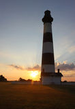 Bodie Island lighthouse silhouetted at sunrise. Silhouetted view of the Bodie Island lighthouse on the outer banks of North Carolina at sunrise vertical royalty free stock photography