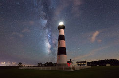 Bodie Island Lighthouse under the Milky Way Galaxy. Milky Way drifting in the night sky behind the Bodie Island Lighthouse stock photography