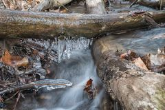 Bodies of water. Cascading creek with icicles stock photos