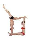 Bodies yogis tworząca postać Odizolowywający na bielu Fotografia Royalty Free
