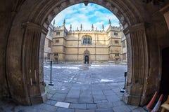 Bodleian图书馆在牛津早晨,英国 免版税库存图片