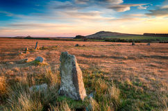 Bodmin Moor in Cornwall. Fernacre Stone Circle on Bodmin Moor in Cornwall Stock Images