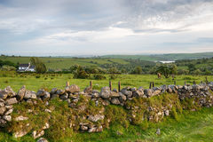 Bodmin Moor Farm. A farm on Bodmin Moor in Cornwall with Siblyback Lake in the far distance Royalty Free Stock Images