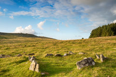 Bodmin Moor Hut Circle. An ancient Neolithic hut circle on the foothills of Roughtor near Fernacre on Bodmin Moor in Cornwall Royalty Free Stock Photos