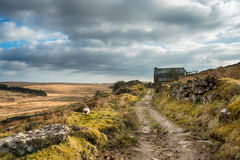 Bodmin Moor. An old cart track winding through a remote part of Bodmin Moor in Cornwall royalty free stock photography
