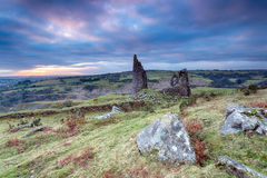 Bodmin Moor. Old ruined engine house at Caradon Hill on Bodmin Moor in Cornwall Royalty Free Stock Image