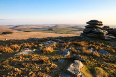 Bodmin moor from Rough Tor. Sunset shot of the Bodmin moor (Cornwall, England) from the top of the Rough Tor neolithic fortification Royalty Free Stock Photos