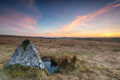 Bodmin Moor. Sunset over standing stones on Bodmin Moor in Cornwall Stock Photography