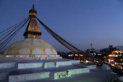 Bodnath at night. Stupa Bodnath and lights at night in Kathmandu, Nepal Royalty Free Stock Photo