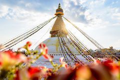 Bodnath stupa在加德满都 免版税库存图片