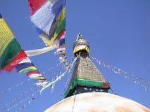 Bodnath stupa. With prayer flags in Kathmandu, Nepal royalty free stock photo