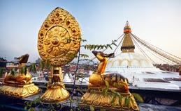 Bodnath-stupa in Kathmandu Stockfotos