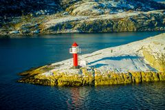 Bodo, Norway - April 09, 2018: Outdoor View Of Landscape Of A Lighthouse At Bodo`s Coast In Norway Stock Images