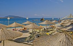 Bodrum. Sunshades in the resort town of Bodrum Stock Photo