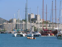 Bodrum Castle. A view of Bodrum Castle from the marina Stock Photography