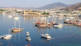Bodrum Castle panning high angle view in Turkey stock footage