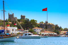 Bodrum castle, Turkey. Bodrum castle and sailing boats, Turkey stock photos