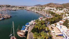 Bodrum city center, white houses, marina, drone shot Mugla TURKEY. Bodrum city center, white houses, marina, drone shot stock video