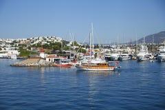 Bodrum is een district en een havenstad in MuÄŸla-Provincie Turkije royalty-vrije stock afbeeldingen