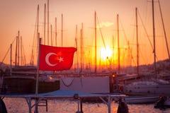 Bodrum marina at sunset Stock Photos