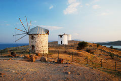 Bodrum old windmills Royalty Free Stock Photo