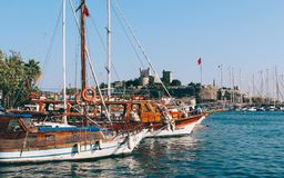 Bodrum castle and Aegean sea in Turkey royalty free stock image